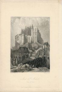 Antique Engraving Print, Mont St. Michel, 1836