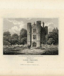 Antique Engraving Print, Lees Priory, Essex, 1818