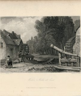 Antique Engraving Print, Water and Mills, 1836