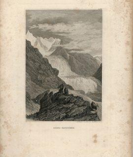 Antique Engraving Print, Rhone-Gletscher, 1834
