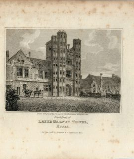 Antique Engraving Print, Later Marney Tower, 1818