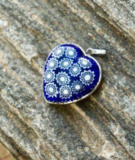 Vintage Love Heart Ceramic and metal pendant