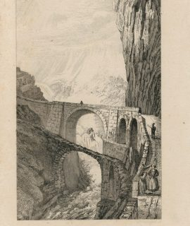 Antique Engraving Print, Pont du Diable, 1830
