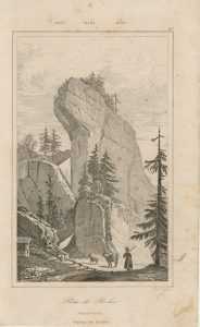 Antique Engraving Print, Porte de Rocher, 1790 ca.