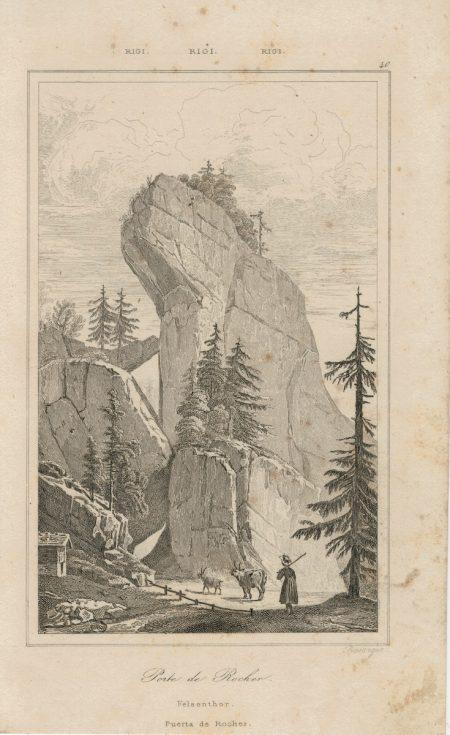 Antique Engraving Print, Porte de Rocher, 1832