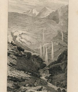 Antique Engraving Print, Source du Rhin, 1830