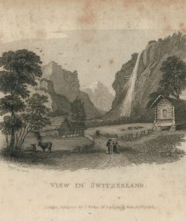 Antique Engraving Print, View in Switzerland, 1830