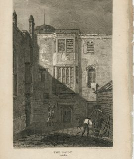 Antique Engraving Print, The Savoy, London, 1815
