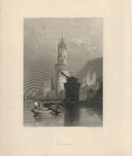 Antique Engraving Print, Andernach, 1836