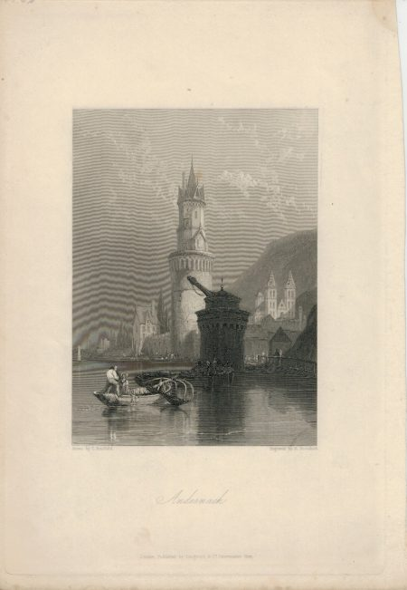 Antique Engraving Print, Andernach, 1836