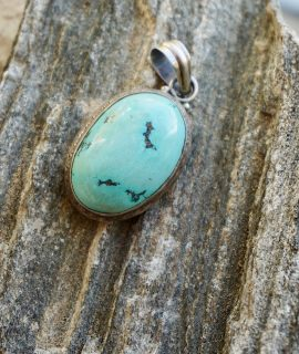 Vintage Original Turquoise Pendant fitted in Silver 925