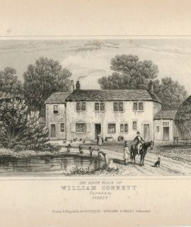 Antique Engraving Print, The Birth Place of the William Cobbett, 1930 ca.