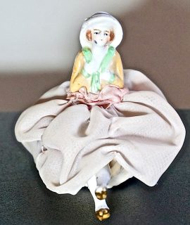 Antique Original Handmade Art Deco Porcelain Bisque Half Doll Pin Cushion Legs
