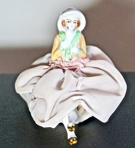 Antique Original Art Deco Porcelain Bisque Half Doll Pin Cushion Legs