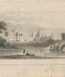 Antique Engraving Print, Blenheim House, 1845