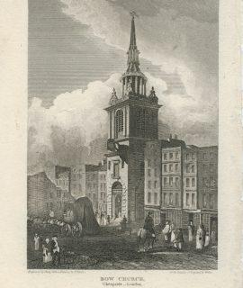 Antique Engraving Print, Bow Church, 1815