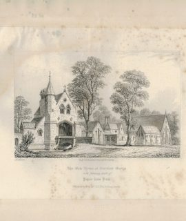 Antique Engraving Print, The Gate House, 1840