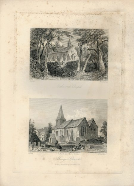 Antique Engraving Print, Abinger Church, Oakwood Chapel, 1845 ca.