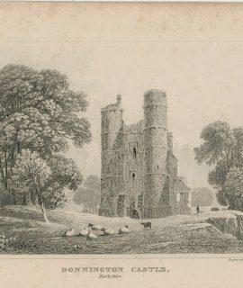Antique Engraving Print, Donnington Castle, 1815