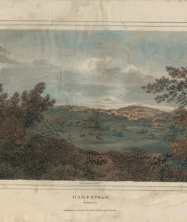Rare Antique Engraving Print, Hampstead, Middlesex, 1818