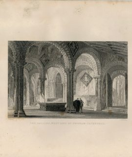 Antique Engraving Print, The Galilee West End of Durham Cathedral, 1830