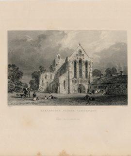 Antique Engraving Print, Llanercost Priory, Cumberland, 1844