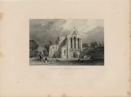 Antique Engraving Print, Llanercost Priory, Cumberland, 1844