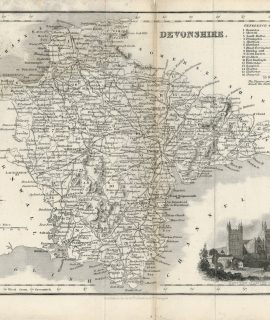Antique Map of Devonshire, Fullarton & Co, 1840 ca.