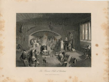 Antique Engraving Print, The Baron's Hall at Christmas, 1844