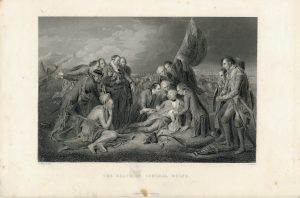 Antique Engraving Print, The Death of General Wolfe, 1836 ca.
