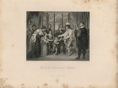 Antique Engraving Print, Charles First and His Children, 1840