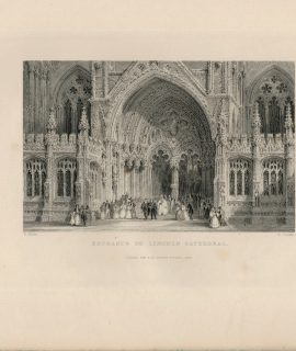Antique Engraving Print, Entrance to Lincoln Cathedral, 1844