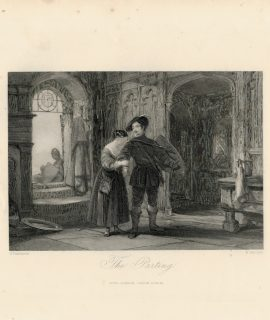 Rare Antique Engraving Print, The Parting, 1840 ca.