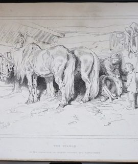 Antique Print, The Stable, 1874