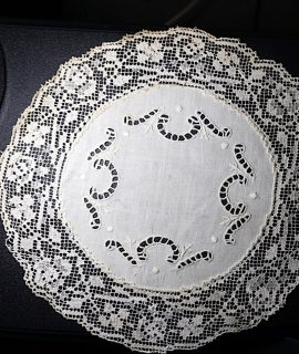 Ancient Handmade Carving Doily and Filet