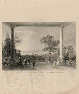 Antique Engraving Print, City & Lake of Constance