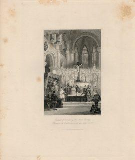 Antique Engraving Print, Epreuve de l'attouchement du corp mort, 1844