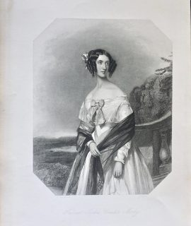 Antique Engraving Print, Harriet Sophia Countess Morley, 1845