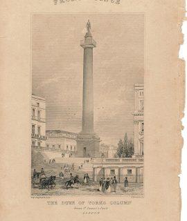 "Antique engraving print: ""The Duke of Yorks Column from St. James's Park, London"", 1860"
