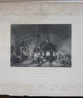 Antique Engraving Print, Falcon Glass House, 1842
