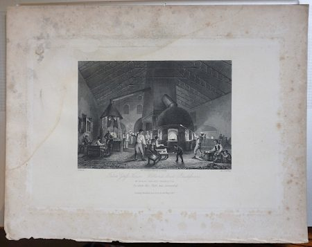 Antique Engraving Print, Falcon Glass House, 1842