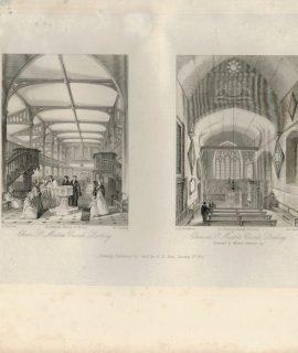 Antique Engraving Print, St, Martin's Church, 1841