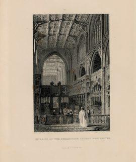 Antique Engraving Print, Interior of the Collegiate Church, Manchester, 1844