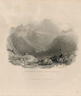 Antique Engraving Print, Langdale Pikes, 1832