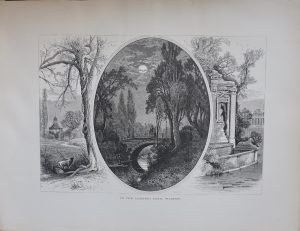 Antique Print, In the Lazienki Park, Warsaw, 1870