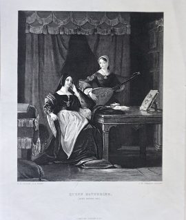Antique Engraving Print, Queen Katherine, 1873