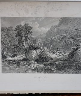 Rare Antique Engraving Print, On the Syn, 1842