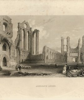 Antique Engraving Print, Arbroath Abbey, 1840 ca.
