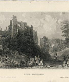 Antique Engraving Print, Ruine Henneberg, 1840 ca.