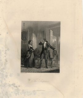 Rare Antique Engraving Print, The Surprise, 1836 ca.